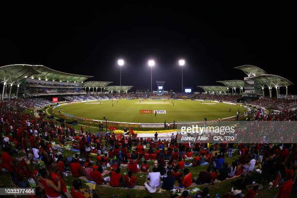 In this handout image provided by CPL T20 Crowds look on during the Hero Caribbean Premier League SemiFinal match between Trinbago Knight Riders and...