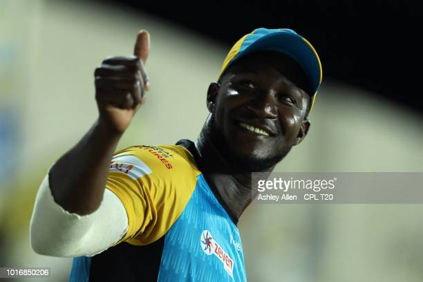 In this handout image provided by CPL T20 Daren Sammy of St Lucia Stars gives a thumbs up to the crowd during the Hero Caribbean Premier League match...