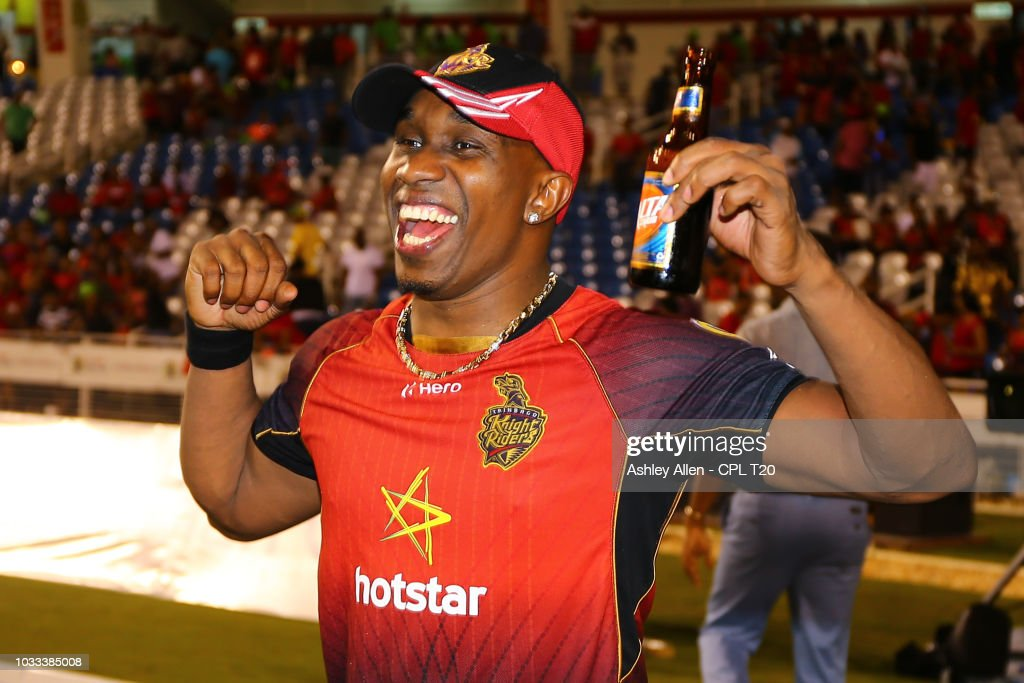 In this handout image provided by CPL T20, Dwayne Bravo, captain of Trinbago Knight Riders celebrates during the Hero Caribbean Premier League Semi-Final match between Trinbago Knight Riders and St Kitts and Nevis Patriots at Brian Lara Stadium on September 14, 2018 in Tarouba, Trinidad and Tobago.
