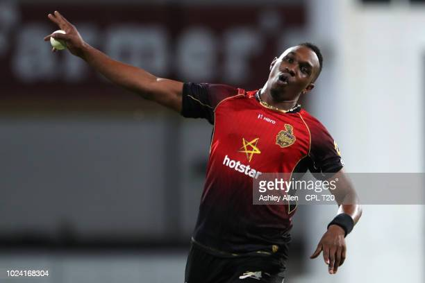 BRIDGETOWN BARBADOS In this handout image provided by CPL T20 Dwayne Bravo of Trinbago Knight Riders celebrates during the Hero Caribbean Premier...