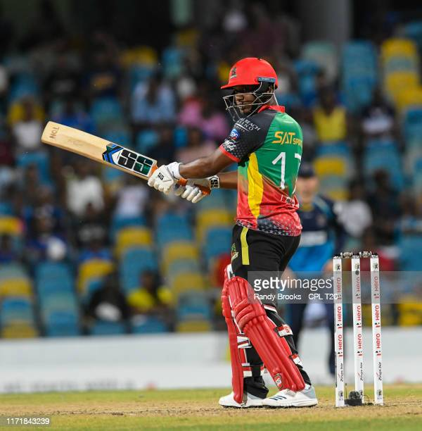 In this handout image provided by CPL T20, Evin Lewis of St Kitts Nevis and Patriots hits 4 during match 25 of the Hero Caribbean Premier League...