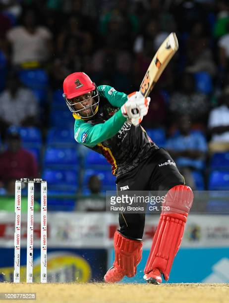 In this handout image provided by CPL T20, Fabian Allen of St Kitts & Nevis Patriots hits 6 during match 26 of the Hero Caribbean Premier League...