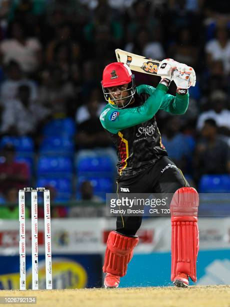 In this handout image provided by CPL T20, Fabian Allen of St Kitts & Nevis Patriots hits 4 during match 26 of the Hero Caribbean Premier League...