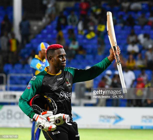 In this handout image provided by CPL T20, Fabian Allen of St Kitts & Nevis Patriots celebrates winning match 26 of the Hero Caribbean Premier League...