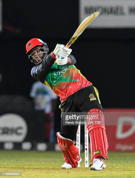 In this handout image provided by CPL T20, Fabian Allen of St Kitts and Nevis Patriots hits 6 during match 16 of the Hero Caribbean Premier League...