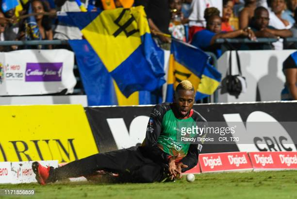 In this handout image provided by CPL T20, Fabian Allen of St Kitts Nevis and Patriots fielding during match 25 of the Hero Caribbean Premier League...