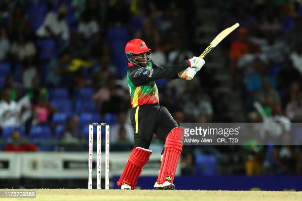 In this handout image provided by CPL T20, Fabian Allen of St Kitts and Nevis Patriots bats during the Hero Caribbean Premier League match between St...