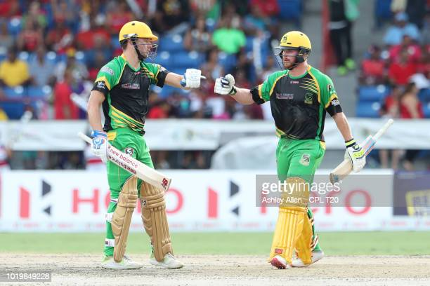 In this handout image provided by CPL T20 Trinbago Knight Riders celebrate victory during the Hero Caribbean Premier League match between Jamaica...