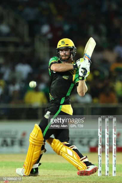 In this handout image provided by CPL T20 Glenn Phillips of Jamaica Tallawahs bats during the Hero Caribbean Premier League match between Jamaica...