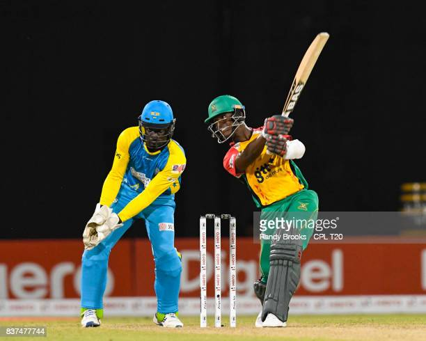 In this handout image provided by CPL T20 Jason Mohammed of Guyana Amazon Warriors hits 6 during Match 21 of the 2017 Hero Caribbean Premier League...