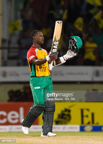 In this handout image provided by CPL T20 Jason Mohammed of Guyana Amazon Warriors celebrates winning Match 21 of the 2017 Hero Caribbean Premier...