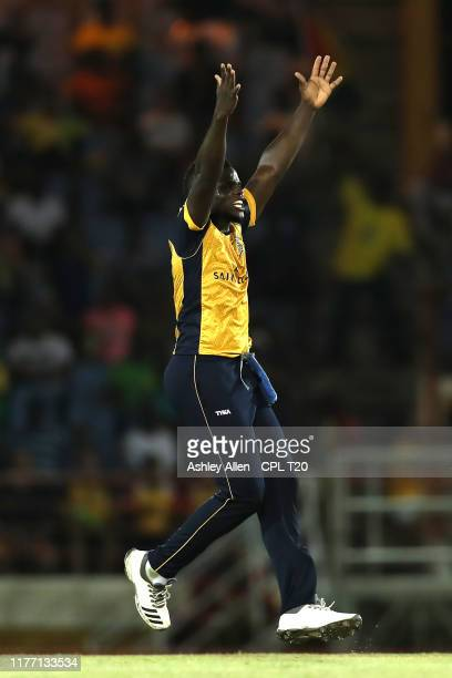 In this handout image provided by CPL T20 Jeavor Royal of St Lucia Zouks appeals successfully for the wicket of Shimron Hetmyer of Guyana Amazon...