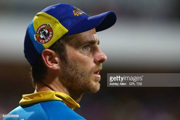 In this handout image provided by CPL T20 Kane Williamson of Barbados Tridents during Match 30 of the 2017 Hero Caribbean Premier League between...