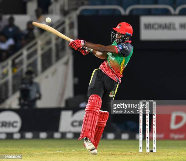 In this handout image provided by CPL T20 Keron Cottoy of St Kitts and Nevis Patriots hits 4 during match 16 of the Hero Caribbean Premier League...