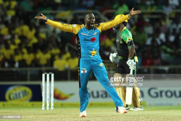 In this handout image provided by CPL T20 Kesrick Williams of St Lucia Stars appeals during the Hero Caribbean Premier League match between Jamaica...
