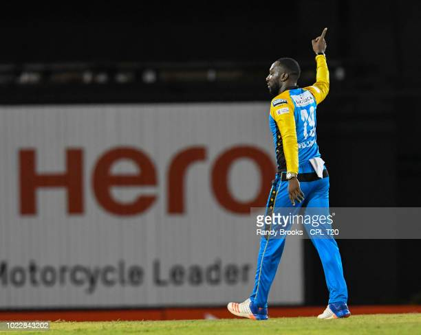 In this handout image provided by CPL T20 Kesrick Williams of St Lucia Stars celebrates the dismissal of Shimron Hetmyer of Guyana Amazon Warriors...