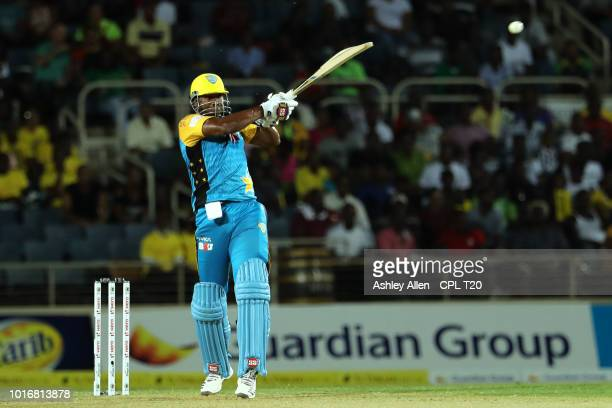 In this handout image provided by CPL T20 Kieron Pollard of St Lucia Stars bats during the Hero Caribbean Premier League match between Jamaica...