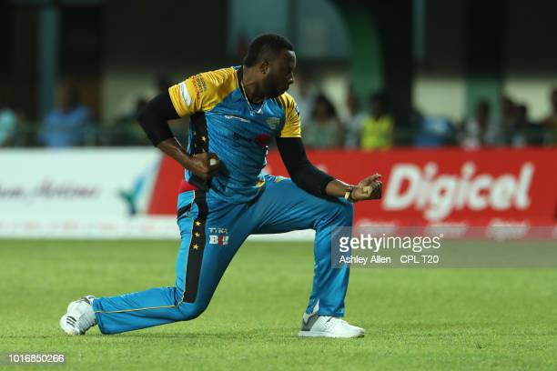 In this handout image provided by CPL T20 Kieron Pollard of St Lucia Stars celebrates during the Hero Caribbean Premier League match between Jamaica...
