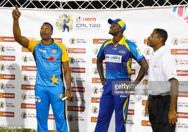 In this handout image provided by CPL T20 Obed McCoy and Darren Sammy of St Lucia Stars celebrate winning match 10 of the Hero Caribbean Premier...