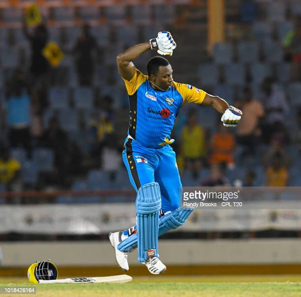 In this handout image provided by CPL T20 Kieron Pollard of St Lucia Stars celebrates his century during match 10 of the Hero Caribbean Premier...