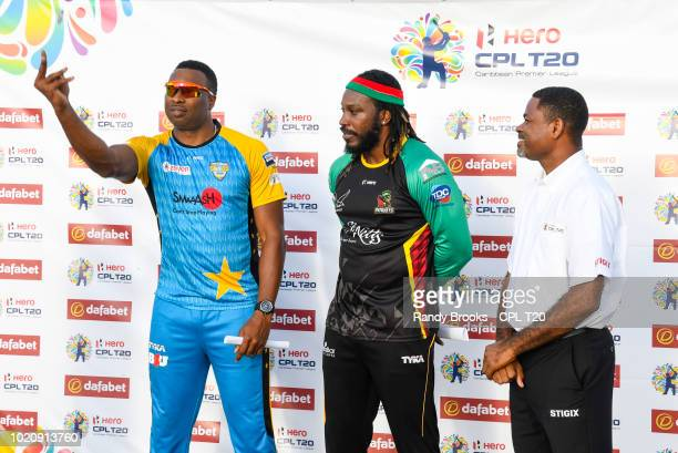 In this handout image provided by CPL T20 Lendl Simmons of St Lucia Stars is dismissed by Devon Thomas of St Kitts Nevis Patriots during match 13 of...