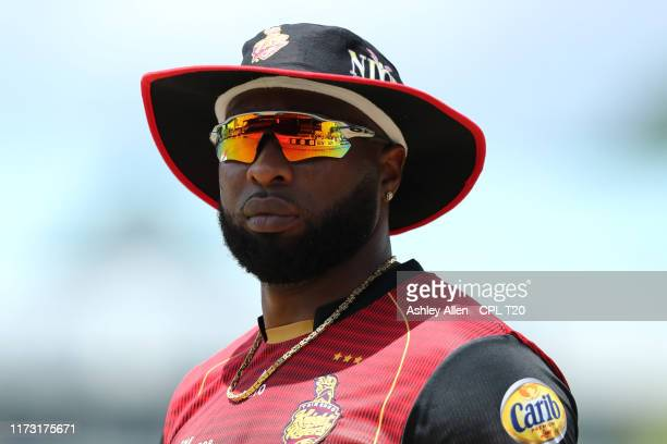In this handout image provided by CPL T20 Kieron Pollard of Trinbago Knight Riders during the Hero Caribbean Premier League match between Trinbago...