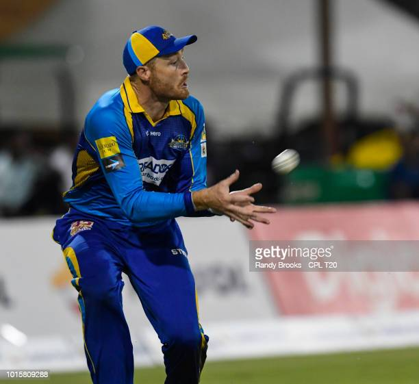 In this handout image provided by CPL T20 Martin Guptill of Barbados Tridents takes the catch to dismiss Shimron Hetmyer of Guyana Amazon Warriors...