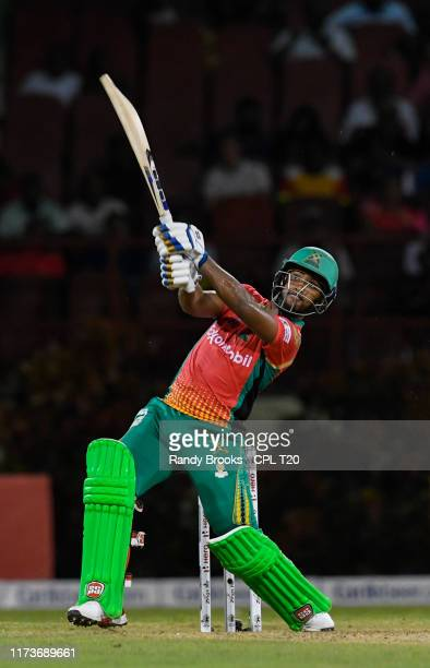 In this handout image provided by CPL T20, Nicholas Pooran of Guyana Amazon Warriors hits 6 during match 30 of the Hero Caribbean Premier League...