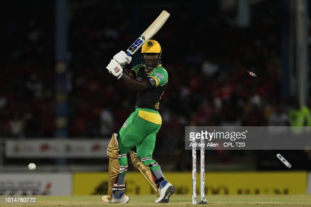 In this handout image provided by CPL T20 Rovman Powell of Jamaica Tallawahs is bowled by Shannon Gabriel during the Hero Caribbean Premier League...