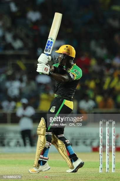 In this handout image provided by CPL T20 Rovman Powell of Jamaica Tallawahs hits six during the Hero Caribbean Premier League match between Jamaica...
