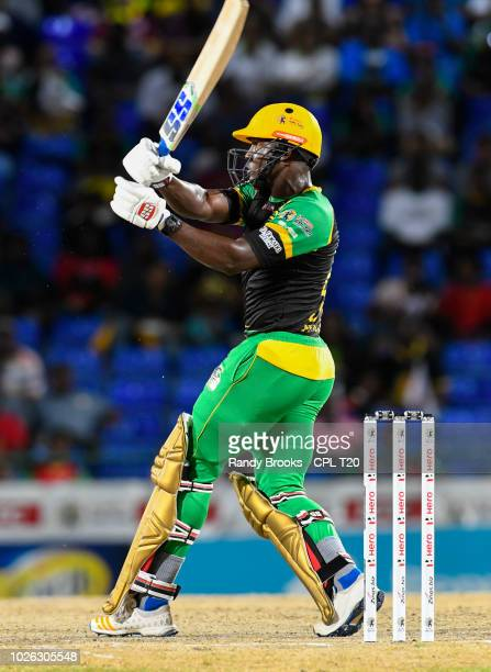 In this handout image provided by CPL T20 Rovman Powell of Jamaica Tallawahs during match 25 of the Hero Caribbean Premier League between St Kitts...
