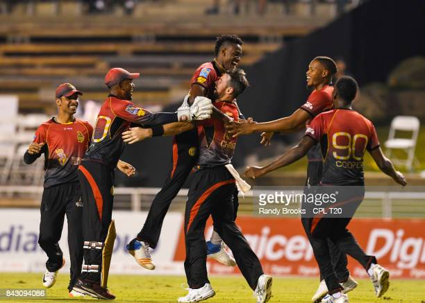 In this handout image provided by CPL T20 Shadab Khan Denesh Ramdin Ronsford Beaton Daniel Christian Javon Searles and Kevon Cooper of Trinbago...