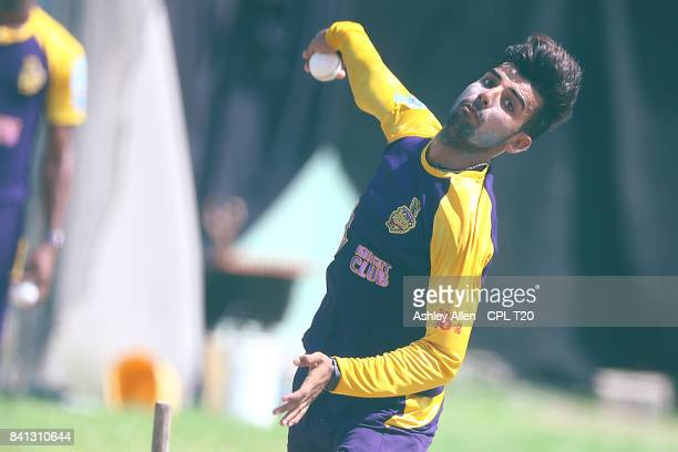 In this handout image provided by CPL T20 Shadab Khan of the Trinbago Knight Riders during a training session at Kensington Oval on August 31 2017 in...