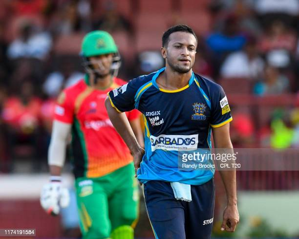 In this handout image provided by CPL T20 Shakib Al Hasan of Barbados Tridents express disappointment during the Hero Caribbean Premier League...