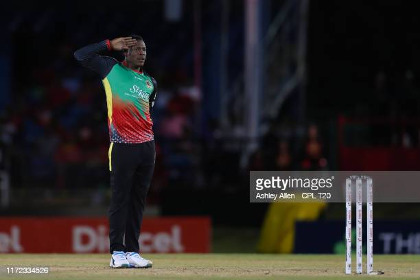 In this handout image provided by CPL T20, Sheldon Cottrell of St Kitts Nevis Patriots salutes during the Hero Caribbean Premier League match between...