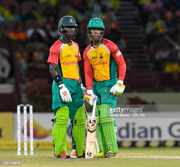 In this handout image provided by CPL T20 Sherfane Rutherford and Shimron Hetmyer of Guyana Amazon Warriors during the Hero Caribbean Premier League...