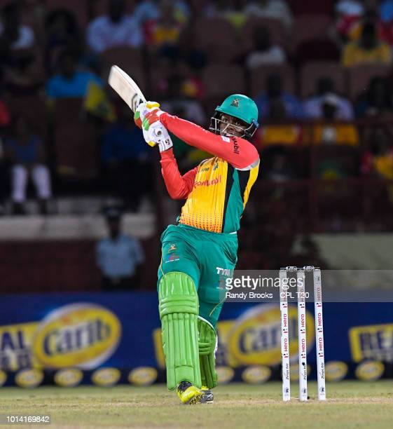 In this handout image provided by CPL T20 Shimron Hetmyer of Guyana Amazon Warriors hits 6 during the Hero Caribbean Premier League match 2 between...