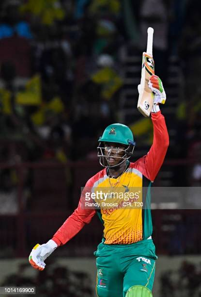 In this handout image provided by CPL T20 Shimron Hetmyer of Guyana Amazon Warriors celebrates his half century during the Hero Caribbean Premier...
