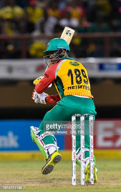 In this handout image provided by CPL T20 Shimron Hetmyer of Guyana Amazon Warriors hits 4 during the Hero Caribbean Premier League match 2 between...