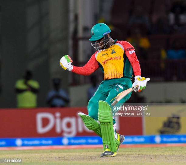 In this handout image provided by CPL T20 Shimron Hetmyer of Guyana Amazon Warriors celebrates winning the Hero Caribbean Premier League match 2...