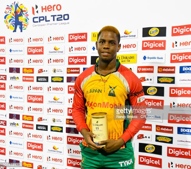 In this handout image provided by CPL T20 Shimron Hetmyer of Guyana Amazon Warriors with the man of the match prize at the end of the Hero Caribbean...