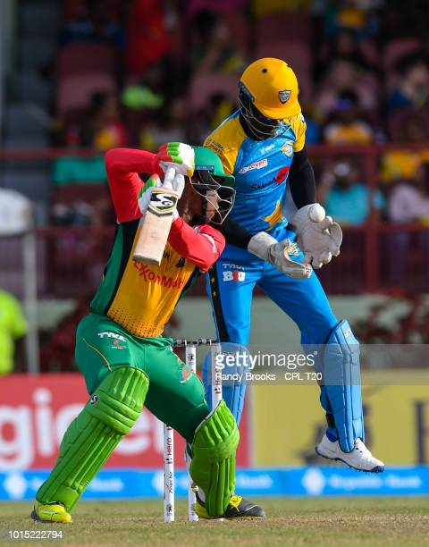 In this handout image provided by CPL T20 Shimron Hetmyer of Guyana Amazon Warriors caught by Andre Fletcher of St Lucia Stars during match 4 of the...