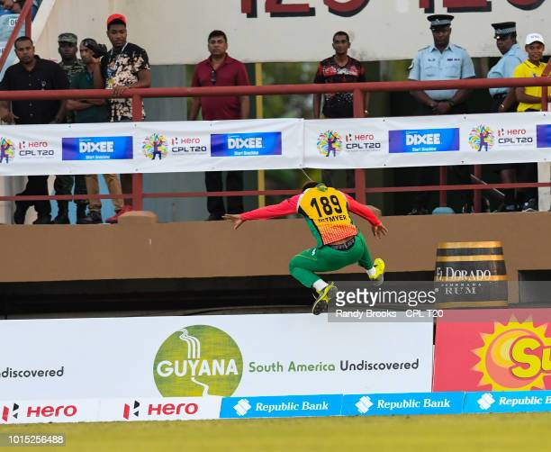 In this handout image provided by CPL T20 Shimron Hetmyer of Guyana Amazon Warriors fielding during match 4 of the Hero Caribbean Premier League...