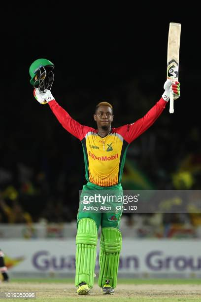 In this handout image provided by CPL T20 Shimron Hetmyer of Guyana Amazon Warriors celebrates his century during the Hero Caribbean Premier League...