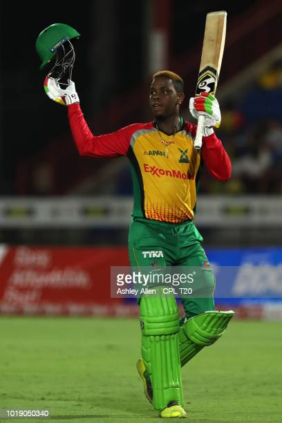In this handout image provided by CPL T20 Shimron Hetmyer of Guyana Amazon Warriors is dimissed for 100 runs during the Hero Caribbean Premier League...