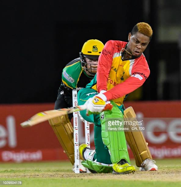 In this handout image provided by CPL T20 Shimron Hetmyer of Guyana Amazon Warriors hits 4 during match 29 of the Hero Caribbean Premier League match...