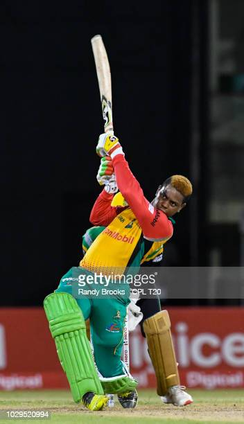 In this handout image provided by CPL T20 Shimron Hetmyer of Guyana Amazon Warriors hits 6 during match 29 of the Hero Caribbean Premier League match...