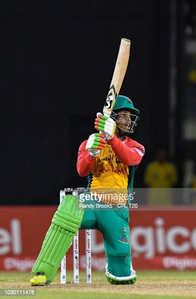 In this handout image provided by CPL T20 Shimron Hetmyer of Guyana Amazon Warriors hits 6 during match 30 of the Hero Caribbean Premier League...