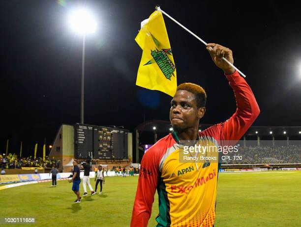 In this handout image provided by CPL T20 Shimron Hetmyer of Guyana Amazon Warriors wave to fans at the end of match 30 of the Hero Caribbean Premier...