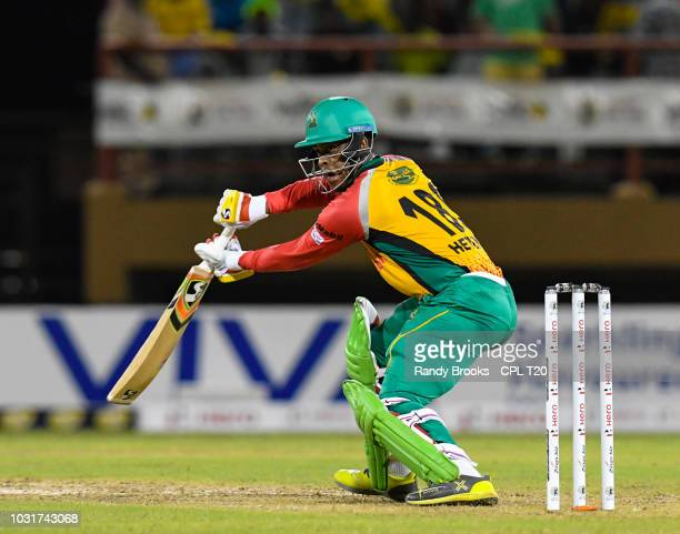 In this handout image provided by CPL T20 Shimron Hetmyer of Guyana Amazon Warriors hits 4 during the Hero Caribbean Premier League PlayOff match 31...